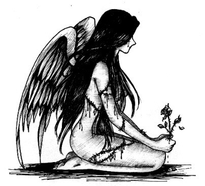 Dessin Tatouage Ange Triste Tuer Auf